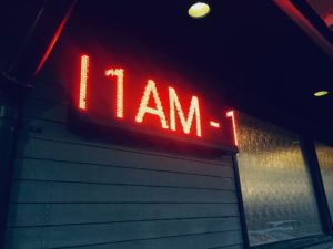 "sample: ""11 AM-"" in red color text"